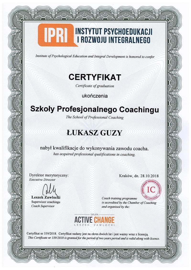 Szkoła Profesjonalnego Coaching - Łukasz Guzy