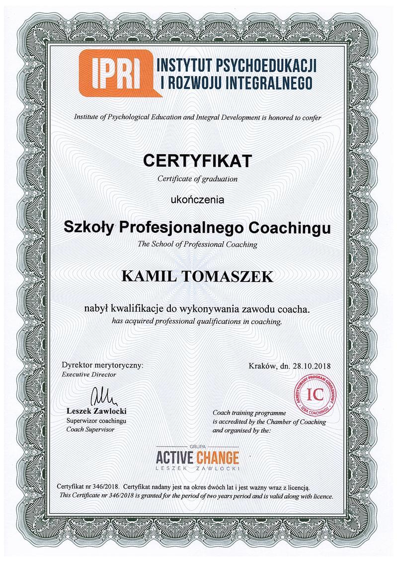 Szkoła Profesjonalnego Coaching - Kamil Tomaszek